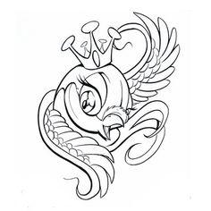 new school bird tattoos | Sparrow tattoos Ideas: Pictures Of Cartoon Bird Tattoos