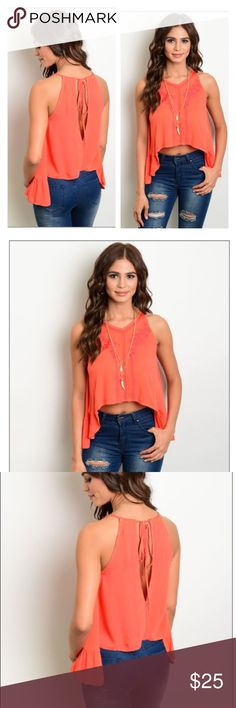 🎊NEW Item🎊 Orange Top This funky orange top is awesome and a must have for summer! It is a sleeveless woven top with floral embroidered and swing fit! 100% rayon made in China. I offer this top in small medium and large! Feel free to ask questions and make bundles!!! 😎😎 Tops