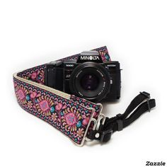 Pink Peacock Handmade Camera Strap w/ Webbing End,made by Feedback Straps