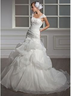 Mermaid Sweetheart Chapel Train Organza Satin Wedding Dress With Ruffle Lace Beadwork Sequins (002004534)