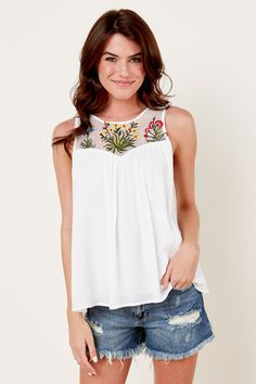 Red Dress Boutique Sizzling Summer White Embroidered Top - $44