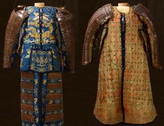 """Brigandine armors of Founders of Manchu Qing Dynasty Hong Taiji (left) and Nurhaci, which are similar to Ming Dynasty armor. Chinese Armor, Korean Military, Art And Architecture, Ancient Architecture, Armor Concept, Arm Armor, Funny Tattoos, Ancient China, Qing Dynasty"
