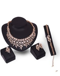 18K Gold Plated Layered Pearl Drops 4Pcs Jewelry Set, Gold, Rich Long | VIPme