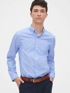 Gap Lived-In Stretch Poplin Shirt Elysian Blue Button Down Collar, Poplin, Long Sleeve, Sleeves, Cotton, Mens Tops, Shirts, Clothes