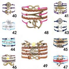 2015 Fine Jewelry Multilayer Leather Bracelet  Arrow  Eiffel Tower Anchors Infinity  Heart Owl Wings Charm Bracelets Pulseira