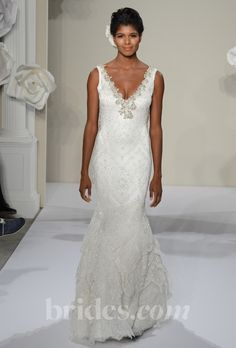 Pnina Tornai - 2013. Style 4208, sleeveless lace sheath wedding dress with a beaded v-neckline, Pnina Tornai