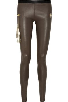 Les Chiffoniers|Zip-embellished stretch-leather leggings|NET-A-PORTER.COM