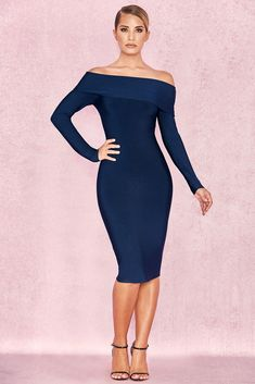 44cd776389 House of CB  Anais  Midnight Blue Bandage Bardot Dress XS 6   8 MA
