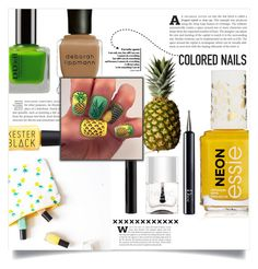 """Pineapple manicure"" by dolly-valkyrie ❤ liked on Polyvore featuring beauty, Nails Inc., Christian Dior and Deborah Lippmann"