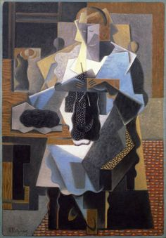 A Cubist knitter - Knitting & Fiber Crafts in Art - A Cubist knitter La Tricoteuse (Knitting Woman) painted by Jean Metzinger in 1919 Georges Braque, Georges Seurat, Pablo Picasso, Tricot D'art, Knitting Humor, Knit Art, Rene Magritte, French Artists, Woman Painting