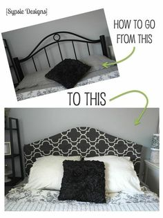 Easy Headboard Cover: Shower, command strips, sewing.
