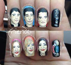 Friends Nails. Nailart. Ross Joey Chandler Phoebe Rachel Monica