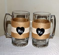 Personalized Wedding Glasses / Couple Mugs by CarolesWeddingWhimsy, I just sold this Rustic Wedding Toasting Mugs.  They have a chalkboard heart to personalize with Mr and Mrs.  No worries, I have many more.  You can find them here https://www.etsy.com/listing/159330204/personalized-wedding-glasses-couple-mugs