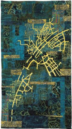 The artist uses maps, circuits and urban design drawings to create layered surfaces that reflect the underlying mystery of history and the spiritual journey of people. Textile Fiber Art, Textile Artists, Map Quilt, Map Projects, Map Design, Graphic Design, Contemporary Quilts, Map Art, Fabric Art