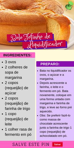 Bolo Fofinho e Maravilhoso de Liquidificador. #bolo #confeitaria #bolos #cookies #culinárias #receitas #receita #gastronomia #doces #chocolate #sobremesa #rocambole #confeitado #bolocaseiro #coco #fuba #boloscaseiros #cenoura #mesclado #boloconfeitado #sensação #formigueiro #bologourmet #bolonopote #florestanegra #bolochocolate #bolocacau #confeitaria #bolos #recheios #massas Easy Smoothie Recipes, Easy Smoothies, Good Food, Yummy Food, Bread Cake, Portuguese Recipes, Coconut Recipes, Diy Food, Organic Recipes