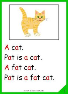 A - Short Vowel - Short A Reader & Worksheets & Flashcards: Pat the Cat 1st Grade Reading Worksheets, Reading Comprehension Worksheets, Phonics Reading, Teaching Phonics, Reading Passages, Kindergarten Reading, Jolly Phonics Activities, Word Family Activities, Free Kindergarten Worksheets