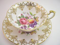 Antique Paragon Tea cup and saucer set, Fruit orchard and flowers, English tea cup set, White tea cup .