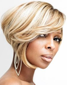Mary J. Blige - Blonde inverted bob haircut with side swept bangs and caramel lowlights hairstyle
