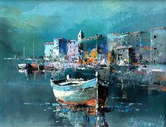 Watercolor Landscape, Landscape Art, Landscape Paintings, Watercolor Paintings, Boat Art, Boat Painting, Seascape Paintings, Art Oil, Street Art