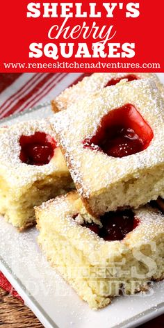 Shelly's Cherry Squares by Renee's Kitchen Adventures is an easy to make recipe for cherry bars that have a soft sugar cookie base with a sweet cherry pie filling puddle in the middle of each piece! A recipe from Magnolia Bakery in NYC! Cherry Desserts, Easy Desserts, Delicious Desserts, Baking Desserts, Brownie Recipes, Cookie Recipes, Dessert Recipes, Bar Recipes, Sweet Cherry Pie