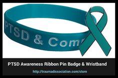 PTSD teal ribbon lapel pin badge with PTSD and Complex PTSD awareness wristbands - click to buy #PTSD #PTSDawarenessmonth