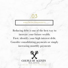 @coupleofagents || #NetWorthNugget #03 -- Reducing debts is a great way to boost your financial health - here are some of our top tips for reducing your debts, if you are doing so in order to set yourself up to easily obtain a home loan when you are ready to make an investment, we recommend speaking with a Home Loan Expert, a complimentary consultation will get you quite far when it comes to figuring out the best plan of action!  #CoupleOfAgents