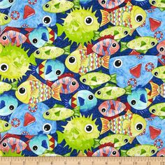 Under the Sea Packed Fish Dark Blue from @fabricdotcom  Designed by Desiree's Designs for Quilting Treasures, this fabric is perfect for quilting, apparel and home decor accents. Colors include green, white, citrine, yellow, aqua, red, turquoise and shades of blue.