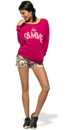 SS14 - Franklin & Marshall - Woman's Look #summer #flower #shorts #cozy #cozysweater