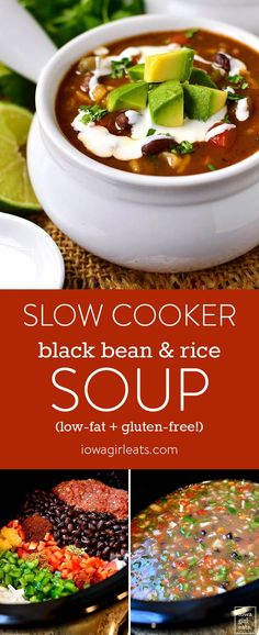 Slow Cooker Black Bean and Rice Soup made with Mrs. Grimes Beans is a filling, healthy, and hearty gluten-free slow cooker recipe that's easy on the wallet and waistline. Visit mrsgrimesbeans.com for products and recipe ideas! | iowagirleats.com
