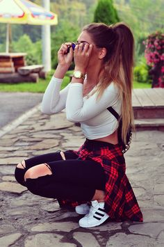Styleev: SUPERSTAR black&white Cute Girl Outfits, Cute Casual Outfits, Swag Outfits, Mode Outfits, Stylish Outfits, Fashion Outfits, Teenager Outfits, College Outfits, Fashion Clothes