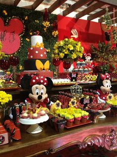 Mickey and Minnie-Mouse Birthday and Baby Shower Themes Minnie Mouse Rosa, Fiesta Mickey Mouse, Mickey Mouse Bday, Mickey Mouse Clubhouse Birthday, Mickey Mouse Parties, Mickey Party, Mickey First Birthday, Kids Party Decorations, Party Ideas