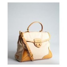 PRADA BEIGE CANVAS AND LEATHER TOP HANDLE BAG