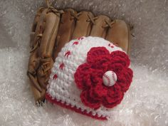 Crochet Baby Girl Baseball Hat with flower - Photo Prop - made to order by crochet2love1 on Etsy https://www.etsy.com/listing/99469827/crochet-baby-girl-baseball-hat-with