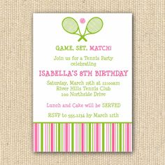 Tennis Birthday Party Invitation - DIY Printable