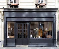 Balibaris store, Paris.... would be really cool to frame in our bedroom in the barn like it was a store front. have always been enamored with mom/pop shops Tina: White bldg, black trim/door
