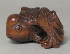 Boxwood Wood Netsuke TWO GOLDFISH Carving