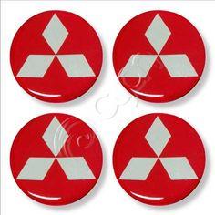 Tapacubos Rojos Brillantes Mitsubishi - Alto Relieve - U$S 6,50