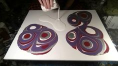Fluid Painting Technique - Red/Purple/Silver + Spray Trick - YouTube