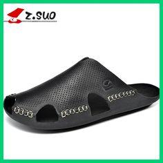 Z. Suo men's Slippers,leisure fashion leather Slipper,PVC soles waterproof closed toe sandals.Sandalias DE cuero DE los hombres