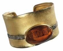 Michael Zobel gold bracelet with fire opal and rough diamonds