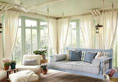 Bring the outdoors inside.an indoor porch swing! Porch Bed, Porch Curtains, Porch Swings, Backyard Swings, Bed Swings, Ceiling Curtains, Muslin Curtains, Swing Beds, Sunroom Windows