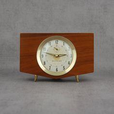 Westclox Penthouse Mantle Alarm Clock, Brass & Wood, Solid Walnut, Wind-up Mechanism, Desk, Office, Home Decor, Mid-Century Vintage