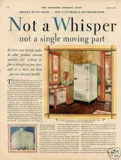 Electrolux Refrigerator Color Ad 2 Page Vintage Kitchen Appliances, Vintage Ads, Magazine Covers, Refrigerator, 1920s, Household, Houses, Lol, Posters