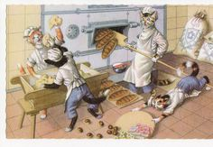 Cats working at the bakery Mainzer dressed by sharonfostervintage, $7.00
