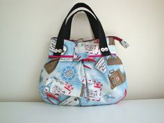 Cotton Mini Handbag  handmade  travel print  unique  by GerdaBags