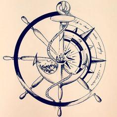 65 amazing compass tattoo designs and ideas Kunst Tattoos, Neue Tattoos, Tattoos Skull, Body Art Tattoos, Tatoos, Turtle Tattoos, Anchor Compass Tattoo, Compass Tattoo Design, Anchor Tattoo Design