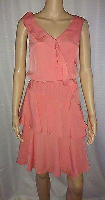 Kenneth-Cole-Dress-6-Orange-Coral-Sleeveless-Ruffled-Above-Knee-Length-V-Neck