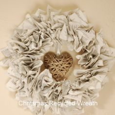 Recycled Paper Christmas Wreath | vicky myers creationsvicky myers creations
