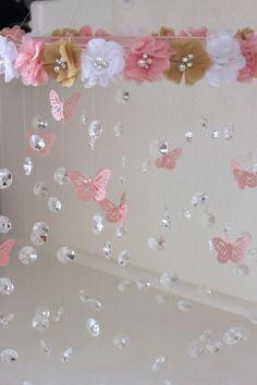 Crystal Baby Mobile, Pink Baby Mobile, Flower Baby Mobile, Pink flower mobile, Baby Mobile Crystal Baby Mobile Pink Baby Mobile Flower Baby by TheMobileMaven Girl Nursery, Girl Room, Baby Room, Chic Nursery, Nursery Bedding, Nursery Decor, Girls Bedroom, Bedroom Ideas, Pink Flowers