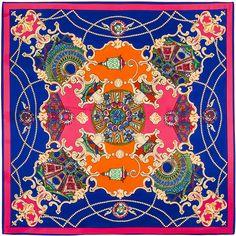 100cm*100cm 100% Twill Silk Euro Brand French design Night sky Hofgarten palace garden Printed Women Square Silk Scarves 6101